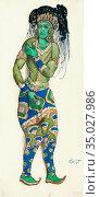 Bakst Leon - Le Dieu Bleu - Costume Design 3 - Russian School - 19th... Стоковое фото, фотограф Artepics / age Fotostock / Фотобанк Лори
