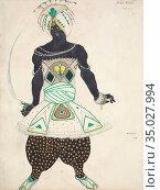 Bakst Leon - Le Dieu Bleu - Costume Design 2 - Russian School - 19th... Стоковое фото, фотограф Artepics / age Fotostock / Фотобанк Лори