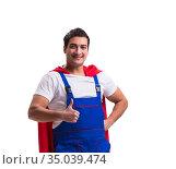 Super hero repairman isolated on the white. Стоковое фото, фотограф Elnur / Фотобанк Лори