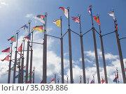 Flags of European states on flagpoles. Стоковое фото, фотограф Юрий Бизгаймер / Фотобанк Лори