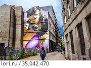 Honey I Shrunk The Kids by Smug, Mitchell Street art mural, Glasgow... (2019 год). Редакционное фото, фотограф Jose Peral / age Fotostock / Фотобанк Лори