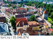 Старый город. Вид с церкви Олевисте. Таллин, Эстония (2012 год). Редакционное фото, фотограф Александр Щепин / Фотобанк Лори