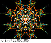 Abstract fractal colorful pattern over black background. Стоковая иллюстрация, иллюстратор FotograFF / Фотобанк Лори