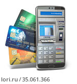 Mobile online banking and payment concept. Smart phone as ATM. Elements of this image furnished by NASA. Стоковое фото, фотограф Maksym Yemelyanov / Фотобанк Лори
