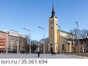 Яановская лютеранская церковь в Таллине, Эстония (2018 год). Редакционное фото, фотограф Кекяляйнен Андрей / Фотобанк Лори