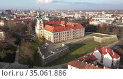 Aerial view on the medieval castle Rzeszow. Rzeszow City. Poland. Стоковое видео, видеограф Яков Филимонов / Фотобанк Лори