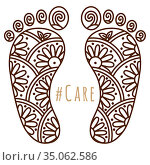 Footprint with floral mehndi ornament. Sketch of legs, skin care theme, pedicure or procedures. Illustration beauty and health. Vector. Стоковая иллюстрация, иллюстратор Dmitry Domashenko / Фотобанк Лори