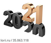 2020 2021 change concept. Represents the new year black and golden symbol symbol. Стоковая иллюстрация, иллюстратор Маринченко Александр / Фотобанк Лори