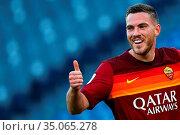 Jordan Veretout (Roma) celebrates the goal during the match ,Rome... Редакционное фото, фотограф Federico Proietti / SYNC / AGF/Federico Proietti / / age Fotostock / Фотобанк Лори