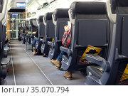 Berlin, Germany, large-capacity 1st class coach of an ICE (2019 год). Редакционное фото, агентство Caro Photoagency / Фотобанк Лори