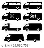 Set of silhouettes of minibuses. Vector illustration. Стоковая иллюстрация, иллюстратор Сергей Антипенков / Фотобанк Лори