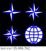 Vector illustration emblem of the compass rose. Стоковая иллюстрация, иллюстратор Сергей Антипенков / Фотобанк Лори