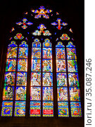 St. Vitus Cathedral, stained-glass window of the Tunov Chapel. Стоковое фото, фотограф Юлия Бабкина / Фотобанк Лори