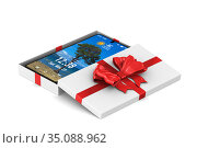 open white gift box with phone on white background. Isolated 3D illustration. Стоковая иллюстрация, иллюстратор Ильин Сергей / Фотобанк Лори