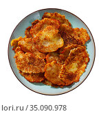 Fried grated potato pancakes with sour cream. Стоковое фото, фотограф Яков Филимонов / Фотобанк Лори
