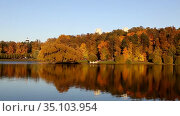 View of the autumn pond and trees with colorful bright autumn foliage on its bank. Стоковое видео, видеограф Наталья Волкова / Фотобанк Лори