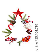 Christmas card and decor on white. Стоковое фото, фотограф Иван Михайлов / Фотобанк Лори
