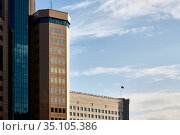 Moscow, Russia, September 27, 2020: The building of the Federal Tax Service of Russia. Редакционное фото, фотограф Азат Хайрутдинов / Фотобанк Лори