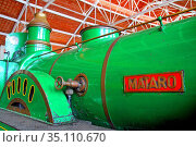 Old locomotive of the Mataró railway, Museu del Ferrocarril de Vilanova... Стоковое фото, фотограф Alfred Abad / age Fotostock / Фотобанк Лори