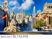 Calle de Alcalá, Plaza Cibeles, Madrid, Spain, Europe. Стоковое фото, фотограф Javier Larrea / age Fotostock / Фотобанк Лори