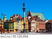 Warsaw, Mazovia / Poland - 2020/05/10: Panoramic view of Royal Castle... Редакционное фото, фотограф bialorucki bernard / age Fotostock / Фотобанк Лори