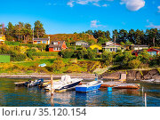 Oslo, Ostlandet / Norway - 2019/09/02: Panoramic view of Lindoya ... Редакционное фото, фотограф bialorucki bernard / age Fotostock / Фотобанк Лори
