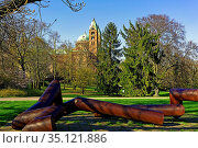 Domgarten, Dom zu Speyer, Kaiserdom, St. Maria und St. Stephan, geweiht... Стоковое фото, фотограф Bernd J. W. Fiedler / age Fotostock / Фотобанк Лори