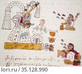 Month Tititl Festival at Codex Tudela, 16th-century pictorial Aztec... Стоковое фото, фотограф Juan García Aunión / age Fotostock / Фотобанк Лори