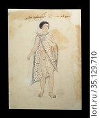 Coast Mexican man at page 3v of Codex Tudela, 16th-century pictorial... Стоковое фото, фотограф Juan García Aunión / age Fotostock / Фотобанк Лори