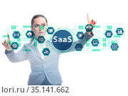 Software as a service - SaaS concept with businesswoman. Стоковое фото, фотограф Elnur / Фотобанк Лори