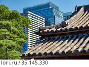 The old and modern roofs in the Chiyoda ward of Tokyo. Japan (2019 год). Стоковое фото, фотограф Serg Zastavkin / Фотобанк Лори