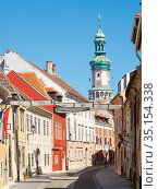 Uj utza (New Lane, Neugasse). Sopron in Transdanubia in the west ... Стоковое фото, фотограф Martin Zwick / age Fotostock / Фотобанк Лори