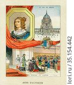 Old color lithography portrait of Anne of Austria. Ana María Mauricia... Стоковое фото, фотограф Jerónimo Alba / age Fotostock / Фотобанк Лори
