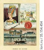 Old color lithography portrait of Isabeau of Bavaria. Elizabeth of... Стоковое фото, фотограф Jerónimo Alba / age Fotostock / Фотобанк Лори