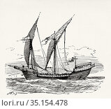 The Saint Louis, French Ship. France. Old XIX century engraving illustration... Стоковое фото, фотограф Jerónimo Alba / age Fotostock / Фотобанк Лори
