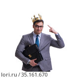King businessman isolated on white background. Стоковое фото, фотограф Elnur / Фотобанк Лори