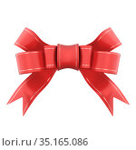 Red satin gift bow. Ribbon. Isolated on white. 3d rendered. Стоковая иллюстрация, иллюстратор Александр Якимов / Фотобанк Лори