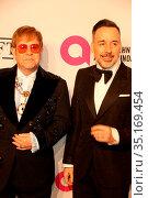 Elton John David Furnish 11/5/2018.17th annual AIDS Foundation Benefit... Редакционное фото, фотограф Adam Scull / age Fotostock / Фотобанк Лори