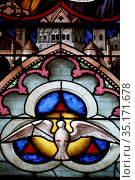 Basilica of Our Lady of Geneva. Stained glass window. Dove of Holy... Стоковое фото, фотограф Pascal Deloche / Godong / age Fotostock / Фотобанк Лори