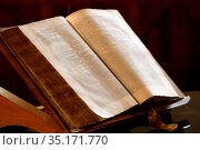 Protestant temple of Chamonix. Old Bible. France. Стоковое фото, фотограф Pascal Deloche / Godong / age Fotostock / Фотобанк Лори