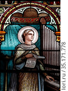 Saint Francis de Sales Church. Stained glass window. Saint Cecilia... Стоковое фото, фотограф Pascal Deloche / Godong / age Fotostock / Фотобанк Лори