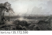 Manchester from Kersal Moor. From an etching by Edward Goodall after... Редакционное фото, фотограф Classic Vision / age Fotostock / Фотобанк Лори