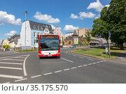 Вид на улицу в центре города Трира, Германия (2018 год). Редакционное фото, фотограф V.Ivantsov / Фотобанк Лори