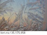 Обледеневшее на морозе стекло с крупными морозными узорами на восходе солнца. Стоковое фото, фотограф Наталья Горкина / Фотобанк Лори