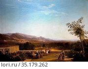 Art, Luigi Basiletti , 1780-1859, title of the work, View of Franciacorta... Стоковое фото, фотограф Molteni &Motta / age Fotostock / Фотобанк Лори