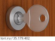 key on wooden background. 3d illustration. Стоковая иллюстрация, иллюстратор Ильин Сергей / Фотобанк Лори