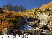 Brook in mountains. Стоковое фото, фотограф александр жарников / Фотобанк Лори