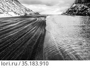 Saksun beach after a strong blizzard Streymoy, Faroe Islands. Highly... Стоковое фото, фотограф Theo  Bosboom / Nature Picture Library / Фотобанк Лори