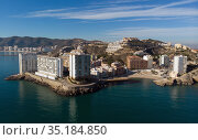 Aerial drone point of view Cullera townscape. Spain. Стоковое фото, фотограф Alexander Tihonovs / Фотобанк Лори