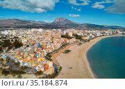 Villajoyosa townscape aerial view. Spain. Стоковое фото, фотограф Alexander Tihonovs / Фотобанк Лори